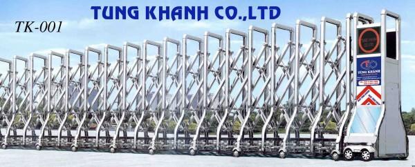 Cổng xếp điện inox Tk 001 (SUS 201)