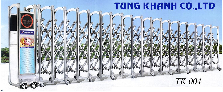 Cổng xếp điện Inox Tùng Khánh